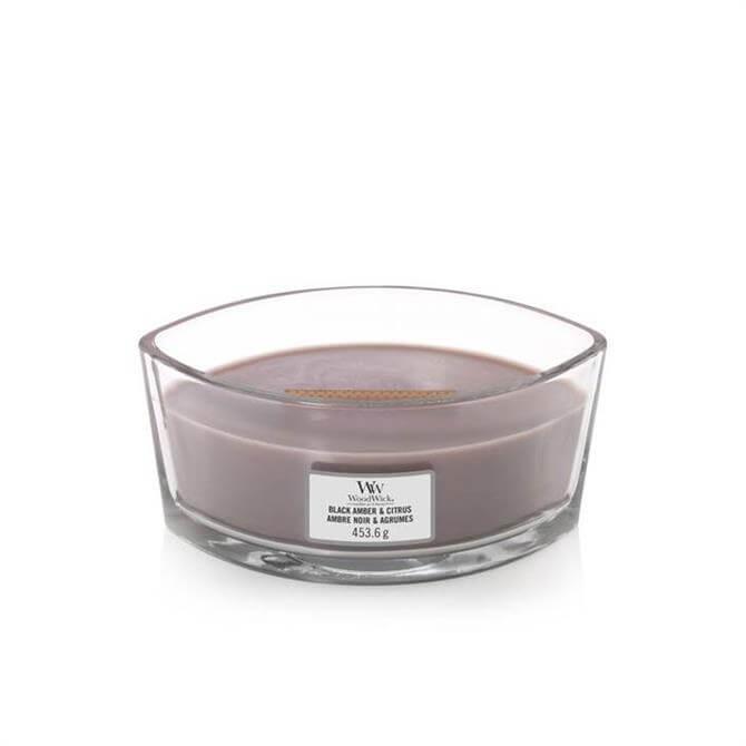 Woodwick Black Amber & Citrus Ellipse Candle