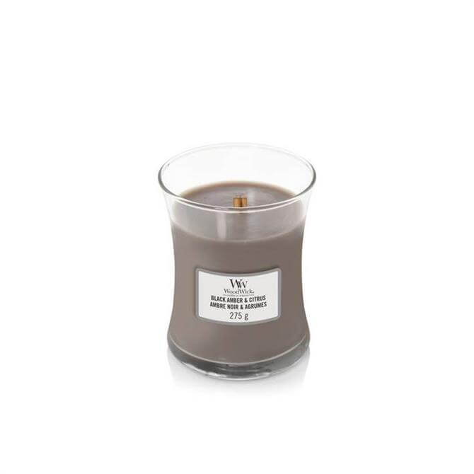 Woodwick Black Amber & Citrus Medium Hourglass Candle
