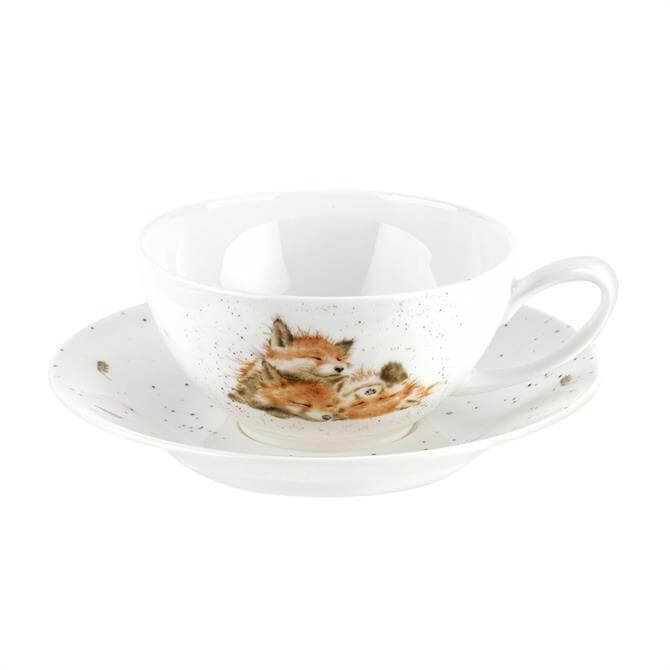 Wrendale Foxes Afternoon Nap Large Cup and Saucer