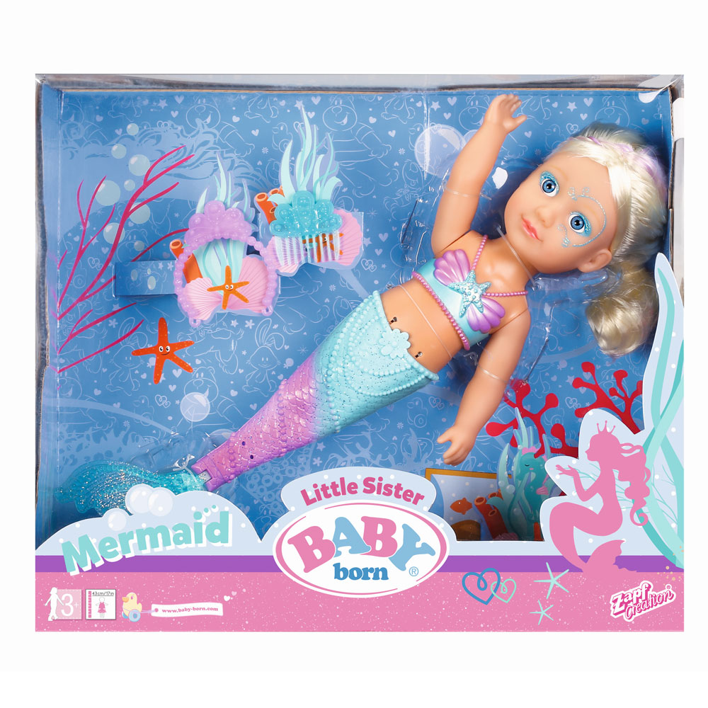 An image of Zapf Baby Born Little Sister Mermaid Doll