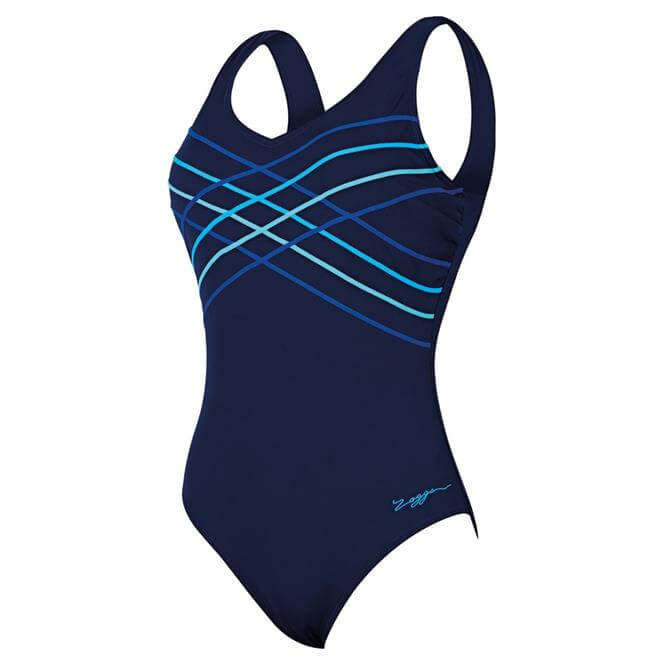 Zoggs Women's Altona Taped Scoopback Supportive Swimsuit- Navy