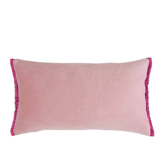 Bluebellgrey Blush Velvet Fringe Cushion
