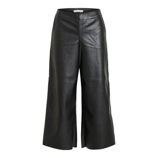 Vila Pen Cropped Wide Leg Coated Trouser