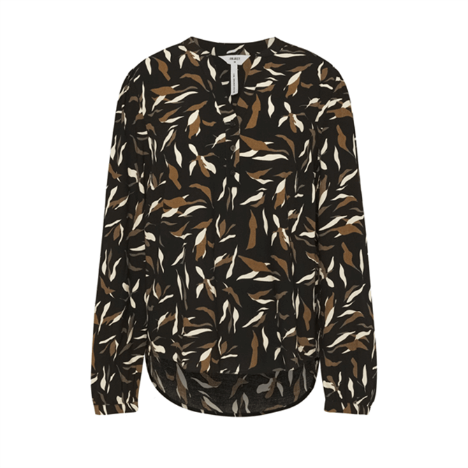 Object Lorena Long Sleeve Blouse in Black Sepia Sand