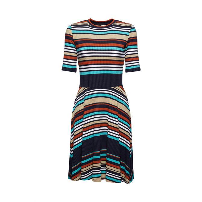 Esprit Colour Block Ribbed Jersey Dress Navy
