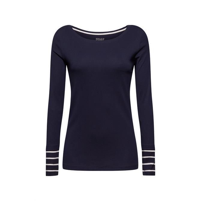 Esprit 100% Organic Cotton Stripe Detail Long Sleeve Top